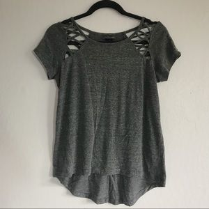 Tops - Gray High Low Cutout Tee